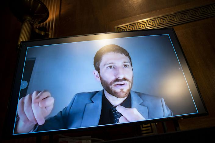 Tristan Harris, co-founder and president at the Center for Humane Technology, testifies virtually during a Senate Judiciary Subcommittee hearing in Washington, D.C., U.S., on Tuesday, April 27, 2021. (Al Drago/Bloomberg via Getty images)
