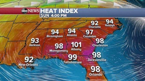 PHOTO: The heat index in the Southeast will approach, or even reach, triple digits in some places. (ABC News)