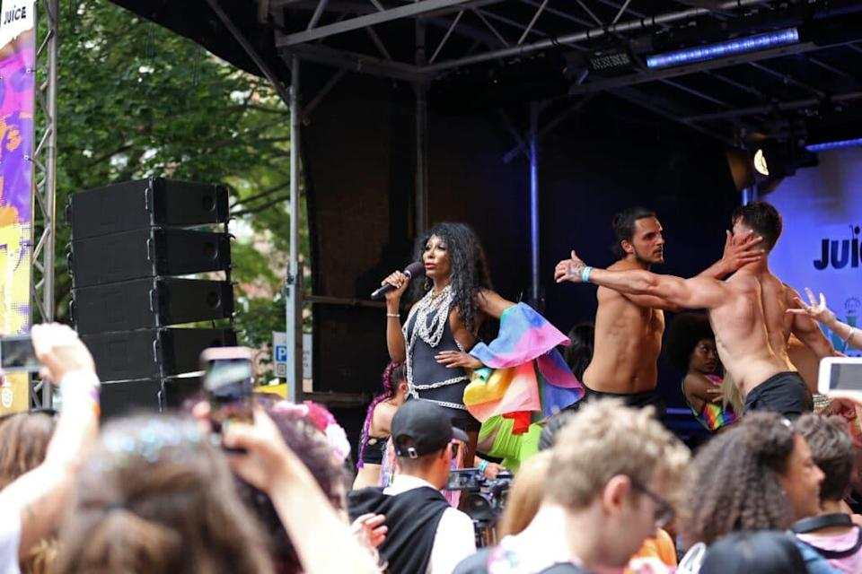 Sinitta performs at the World Area during Pride in London 2019 on July 06, 2019 in London, England