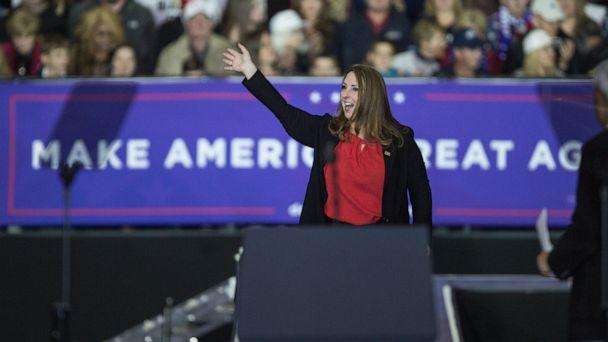 PHOTO: RNC chair Ronna Romney McDaniel waves to the crowd during a Make America Great Again rally at Total Sports Park in Washington Township, Mich., on April 28, 2018. (Junfu Han/Detroit Free Press/Tribune News Service via Getty Images)