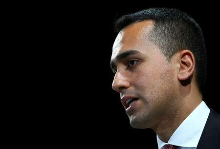 Italian Minister of Labor and Industry Luigi Di Maio speaks at the Italian Business Association Confcommercio meeting in Rome