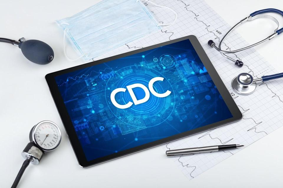 Close-up view of a tablet pc with CDC abbreviation