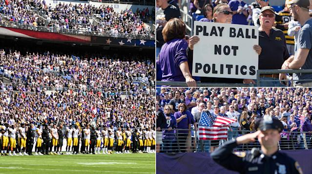 The pregame scene was once again an issue of scrutiny in Baltimore.