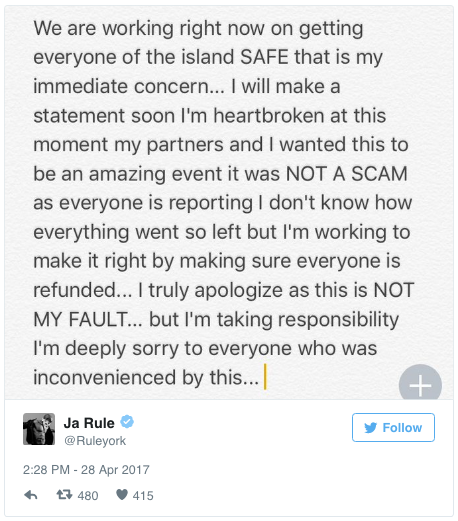 """""""I truly apologize as this is NOT MY FAULT... but I'm taking responsibility. I'm deeply sorry to everyone who was inconvenienced by this."""""""