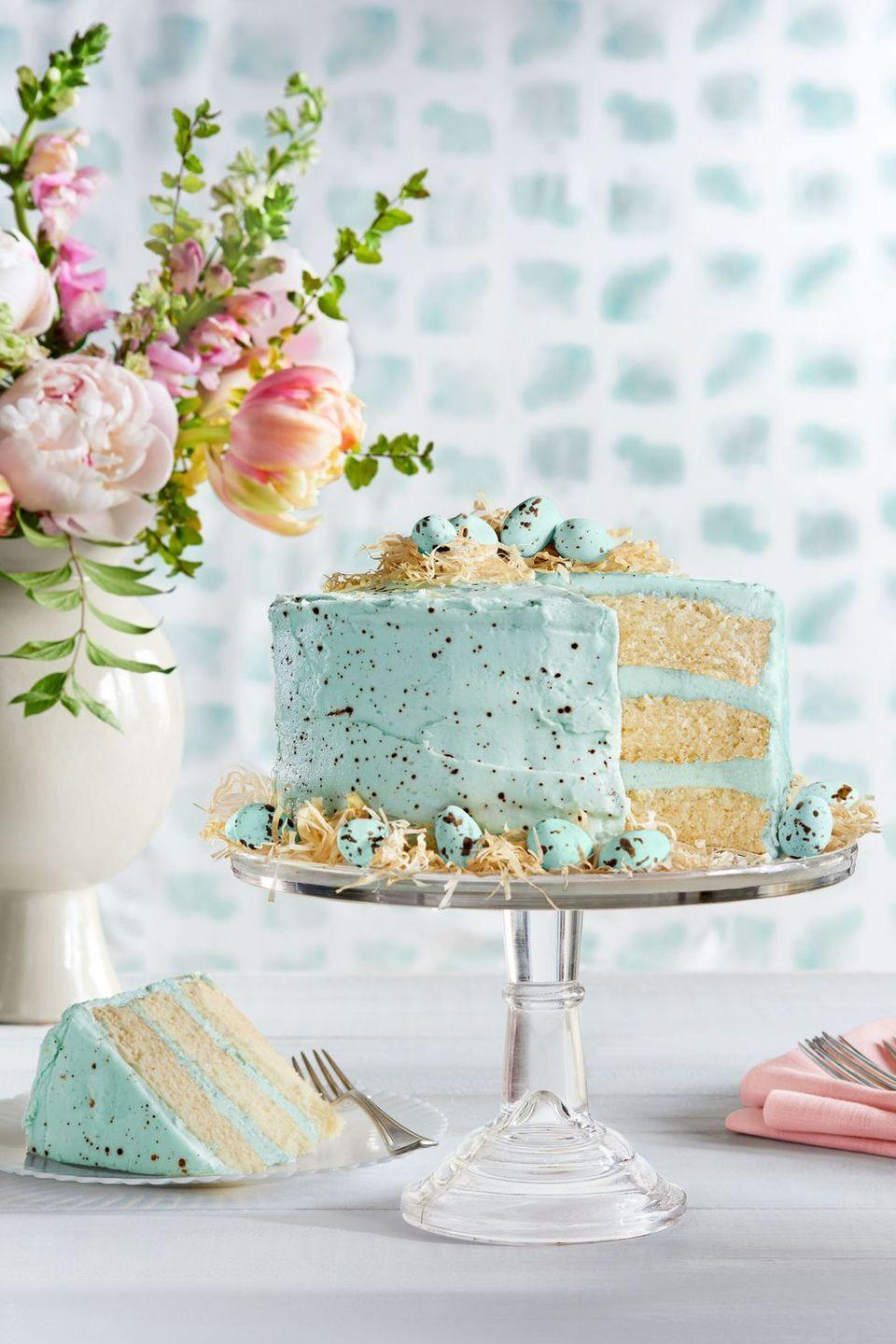 "<p>Top this cake with coconut-flavored buttercream frosting, phyllo nests, and robin's egg candies for the perfect springtime treat.</p><p><em><a href=""https://www.countryliving.com/food-drinks/recipes/a37729/speckled-malted-coconut-cake-recipe/"" rel=""nofollow noopener"" target=""_blank"" data-ylk=""slk:Get the recipe from Country Living »"" class=""link rapid-noclick-resp"">Get the recipe from Country Living »</a></em> </p>"