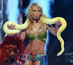 Britney is a VMAs staple so you never know when she'll pop up, but it will be tough for anyone to ever top this 2001 moment. Pioneering the beach wave trend and decked out in sparkly body jewelry, Britney and Banana the snake had all eyes on them.
