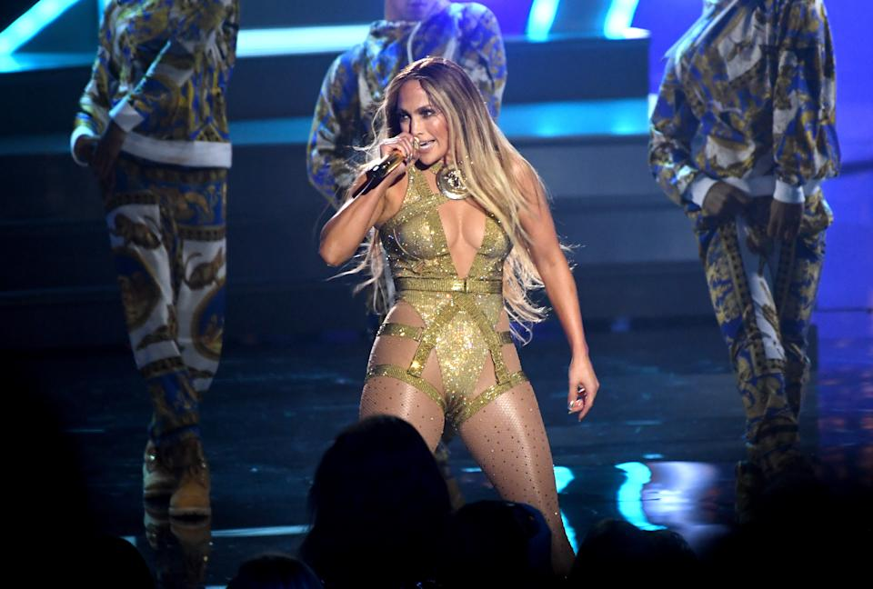 Jennifer Lopez on stage at the MTV Video Music Awards 2018, Radio City, New York. Photo credit should read: Doug Peters/EMPICS