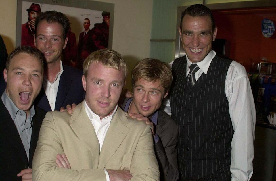 """<p>Pitt's first role of the new Millennium was bare-knuckles boxer, Mickey O'Neil, in Guy Ritchie's <em><a href=""""https://www.imdb.com/title/tt0208092/?ref_=nm_flmg_act_42"""" rel=""""nofollow noopener"""" target=""""_blank"""" data-ylk=""""slk:Snatch"""" class=""""link rapid-noclick-resp"""">Snatch</a></em>. The second-time """"Sexiest Man Alive"""" and Aniston married in Malibu.</p>"""