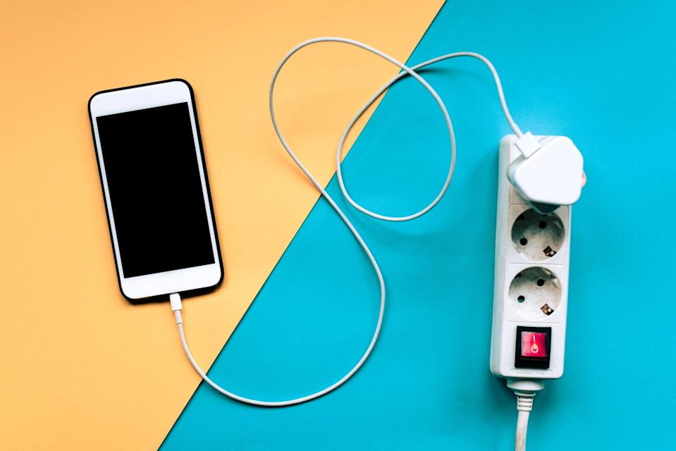 Smartphone being charged