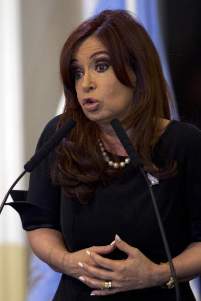 Argentina's President Cristina Fernandez speaks after signing into law the takeover of the YPF oil company in Buenos Aires, Argentina, Friday, May 4, 2012. Fernandez signed into law her expropriation of Spanish-owned Repsol's controlling stake in her country's privatized state energy company. (AP Photo/Natacha Pisarenko)