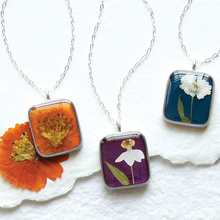 Birth Month Flower Necklace | Real Flower Pendant