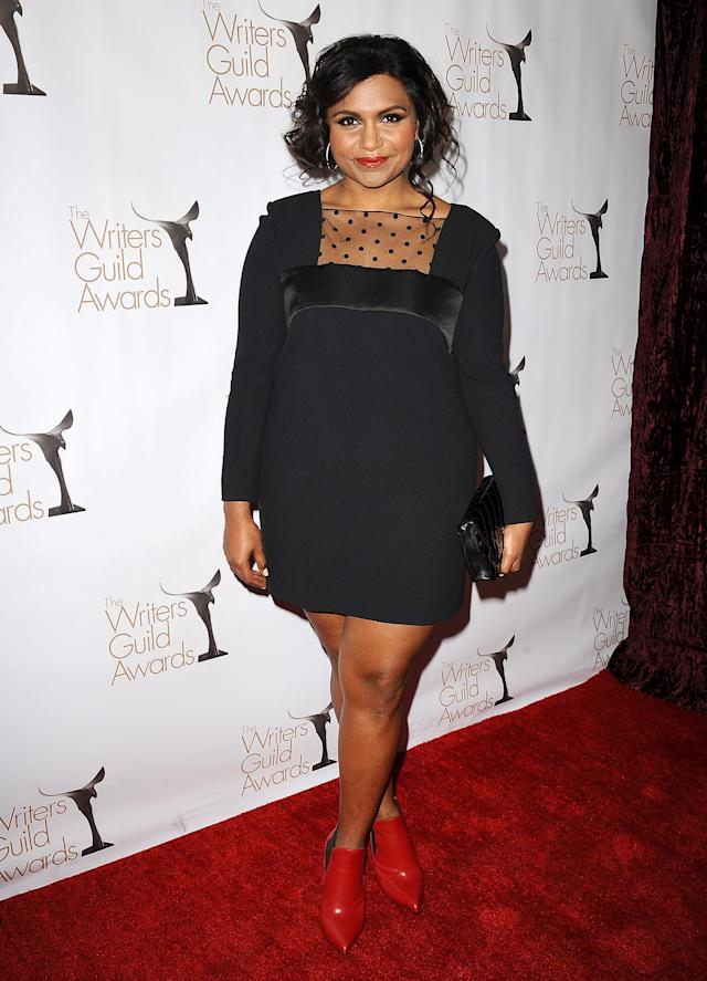 LOS ANGELES, CA - FEBRUARY 17: Actress Mindy Kaling attends the 2013 Writers Guild Awards at JW Marriott Los Angeles at L.A. LIVE on February 17, 2013 in Los Angeles, California. (Photo by Jason LaVeris/FilmMagic)