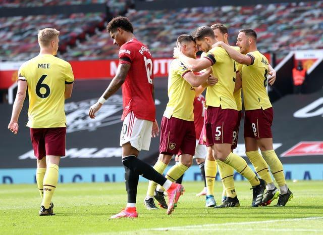 Burnley celebrate James Tarkowski's goal