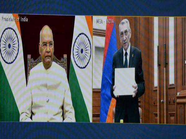 President of India Ram Nath Kovind during a virtual meet with diplomates. (Photo/Twitter)