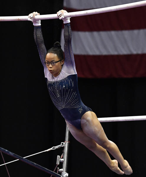 Morgan Hurd performs her routine on the uneven bars during the GK US Classic gymnastics meet in Louisville, Ky., Saturday, July 20, 2019. (AP Photo/Timothy D. Easley)