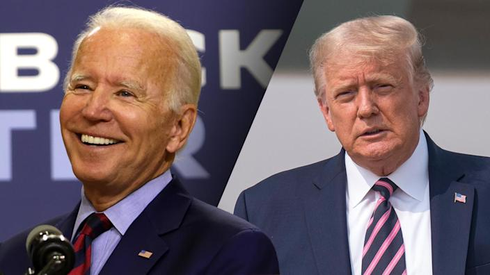 Joe Biden and President Trump. (Alex Wong/Getty Images; David Paul Morris/Bloomberg via Getty Images)
