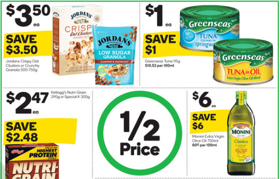 Granola, tuna, cereal and cooking oil on sale for half-price at Woolworths