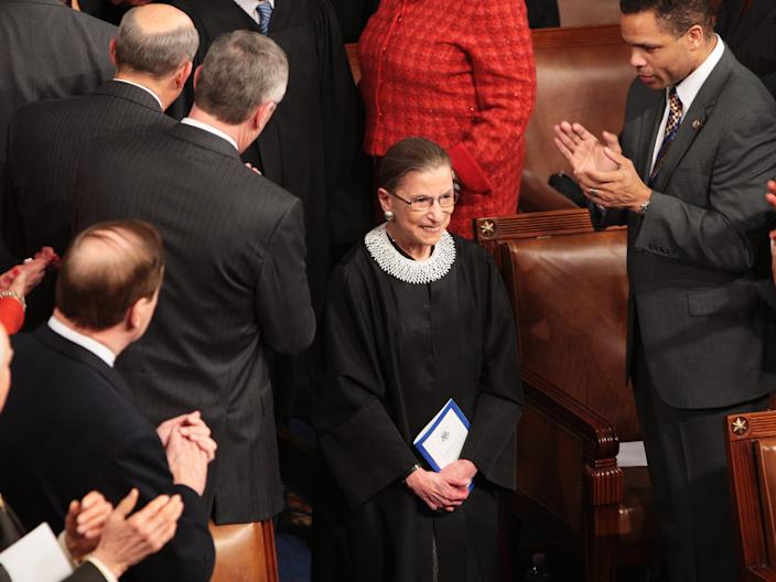 "Associate Justice of the Supreme Court Ruth Bader Ginsburg is cheered as she arrives before President Barack Obama addresses a joint session of Congress on Tuesday, February 24, 2009, in the House of Representatives Chamber of the U.S. Capitol in Washington, DC. <p class=""copyright"">George Bridges/MCT/Tribune News Service via Getty Images</p>"