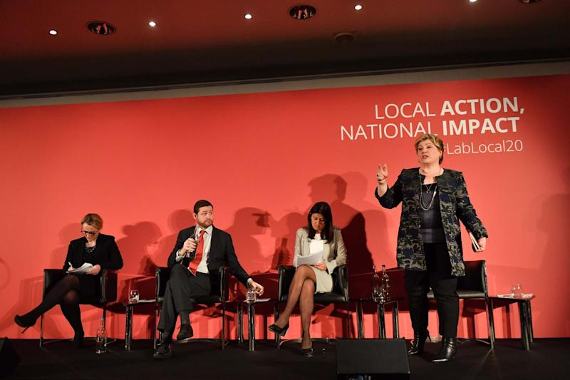 Labour leadership candidates (left to right) Rebecca Long-Bailey, Jim McMahon (standing in for Sir Kier Starmer), Lisa Nandy and Emily Thornberry (PA)