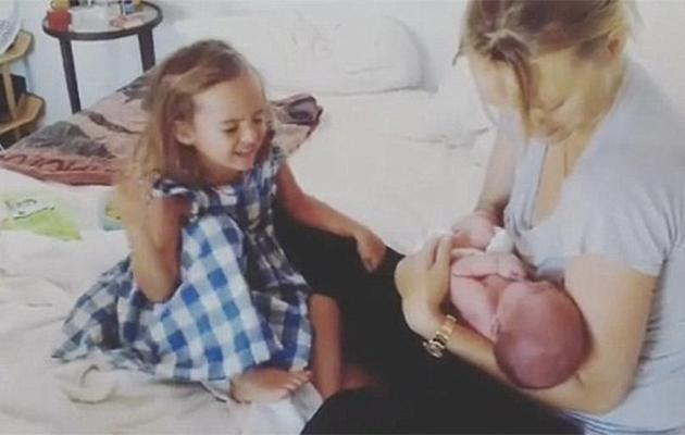 Gemma is seen with her newborn son and her three-year-old daughter Naia. Photo: Instagram.