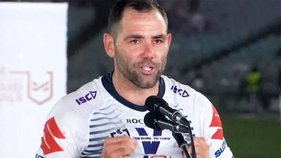 Cameron Smith, pictured here in his victory speech after the NRL grand final.