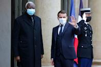 France's Emmanuel Macron in Paris in January with Malian transitional president Bah Ndaw, who was ousted last week
