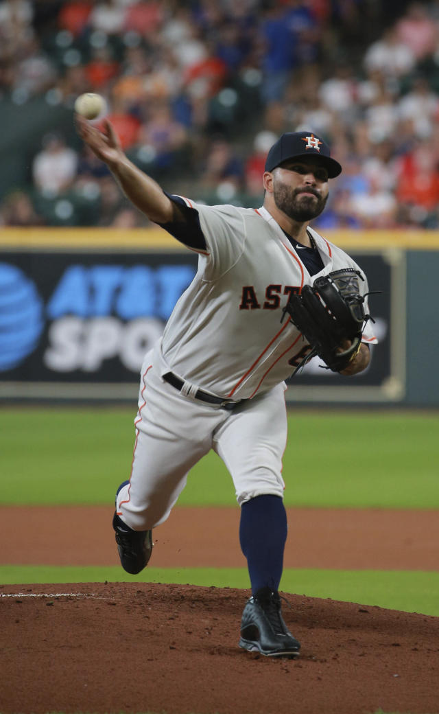 Houston Astros pitcher Jose Urquidy delivers against the Texas Rangers in the first inning of a baseball game Saturday, July 20, 2019, in Houston. (AP Photo/Richard Carson)
