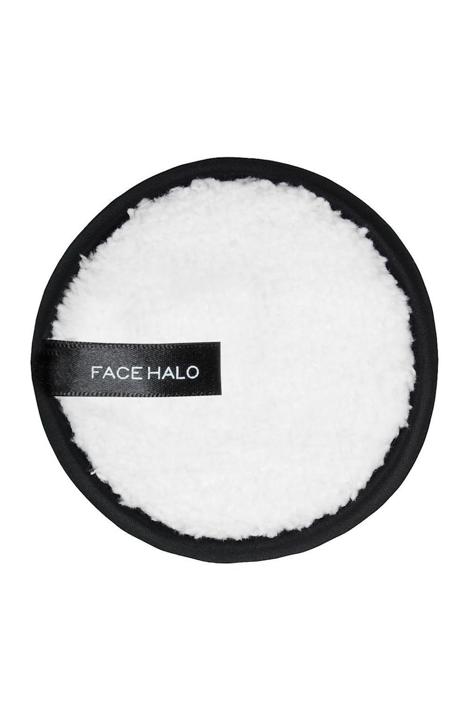 """<p><strong>Face Halo</strong></p><p>amazon.com</p><p><strong>$22.00</strong></p><p><a href=""""https://www.amazon.com/dp/B07F1CC3CR?tag=syn-yahoo-20&ascsubtag=%5Bartid%7C10049.g.34329071%5Bsrc%7Cyahoo-us"""" rel=""""nofollow noopener"""" target=""""_blank"""" data-ylk=""""slk:Shop Now"""" class=""""link rapid-noclick-resp"""">Shop Now</a></p><p>A former coworker introduced me to these reusable rounds a few years ago and I've been hooked ever since. Just wet the FaceHalo (it uses ultra-fine fiber strands to gently remove makeup) and <strong>wipe it across your <a href=""""https://www.cosmopolitan.com/style-beauty/beauty/g2590/best-eye-creams/"""" rel=""""nofollow noopener"""" target=""""_blank"""" data-ylk=""""slk:eyes"""" class=""""link rapid-noclick-resp"""">eyes</a> and face to reveal clean, glowing skin</strong>, then toss it in the wash. It can be cleaned up 200 times.</p>"""