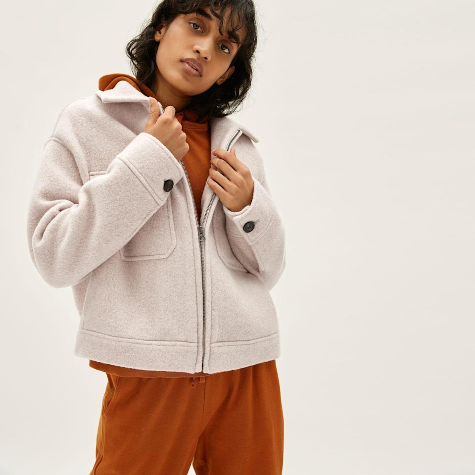 """<p><strong>everlane</strong></p><p>everlane.com</p><p><strong>$178.00</strong></p><p><a href=""""https://go.redirectingat.com?id=74968X1596630&url=https%3A%2F%2Fwww.everlane.com%2Fproducts%2Fwomens-wool-mackinaw-jacket-oatmeal&sref=https%3A%2F%2Fwww.womenshealthmag.com%2Fstyle%2Fg35904128%2Feverlane-spring-sale-restock-2021%2F"""" rel=""""nofollow noopener"""" target=""""_blank"""" data-ylk=""""slk:Shop Now"""" class=""""link rapid-noclick-resp"""">Shop Now</a></p><p><strong><del>$178</del> $124 (30% off)</strong></p><p>This chic, wool style is bound to become your go-to for walks on cool, spring evenings but it's lightweight enough to comfortably and stylishly wrap around your waist when you're not cold, too. </p>"""