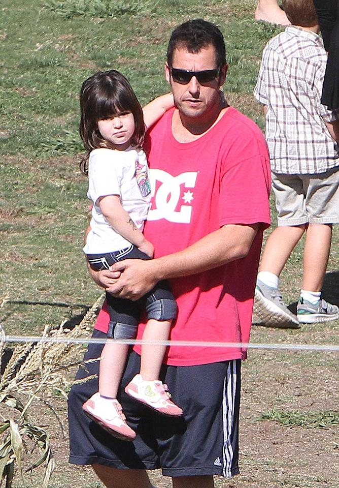 Funnyman Adam Sandler's youngest daughter Sunny wasn't looking so sunny while searching for her jack-o-lantern in Brentwood, California. (10/24/2011)