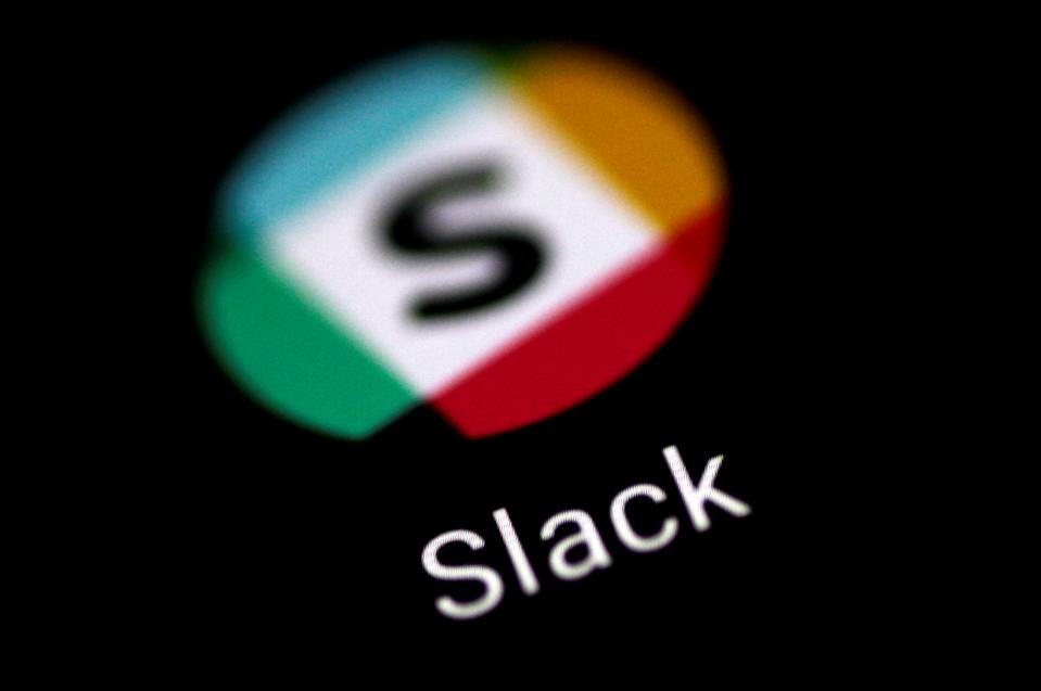 The Slack messaging application is seen on a phone screen August 3, 2017.   REUTERS/Thomas White