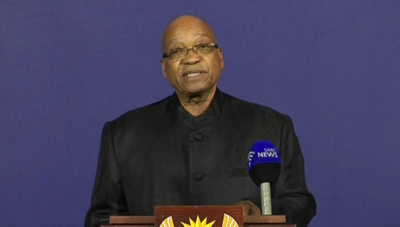 """In this image from TV, President of South Africa Jacob Zuma announces the death of former South African President Nelson Mandela, to the media Thursday Dec. 5, 2013, from a podium in Pretoria, South Africa. Zuma announced Thursday that former President Nelson Mandela has died aged 95, Zuma says """"we've lost our greatest son."""" (AP Photo/SABC pool)"""