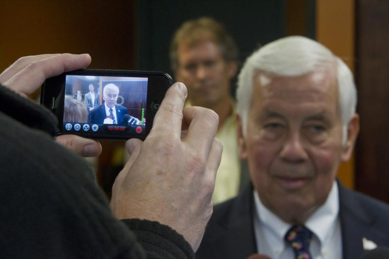 Sen. Richard Lugar, R-Ind., is video recorded by a cell phone during a visit to the West Lafayette wastewater treatment center Monday, May 7, 2012 in West Lafayette, Ind. Lugar visited West Lafayette this morning in a last minute appeal to voters in Tuesday's primary election. (AP Photo/Journal & Courier, Michael Heinz)