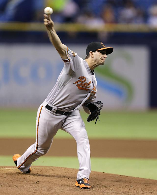 Baltimore Orioles starting pitcher Miguel Gonzalez delivers to the Tampa Bay Rays during the first inning of a baseball game Tuesday, June 17, 2014, in St. Petersburg, Fla. (AP Photo/Chris O'Meara)