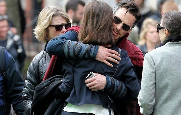 Benedict Cumberbatch greets his wife Sophie Hunter with a big hug on the set of Doctor Strange in New York. Source: Splash