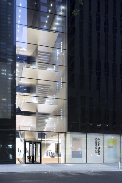 This undated image released by the The Museum of Modern Art shows an exterior view of the Blade Stair Atrium, part of the renovation and expansion effort at MoMA in New York. As the Museum of Modern Art in Manhattan prepares to reopen following a $450 million, 47,000 square foot expansion, visitors can prepare for much more than much-needed elbow room there - and new juxtapositions of works meant to encourage broader perspectives and new narratives. (Iwan Baan/MoMA via AP)