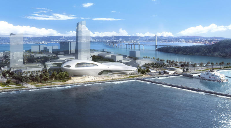 This concept design provided by the Lucas Museum of Narrative Art shows a rendering of their proposed museum on Treasure Island in San Francisco. In January George Lucas, the legendary filmmaker, is expected to decide whether he will put a museum for his extensive personal art collection in San Francisco or Los Angeles, after other attempts were upended by community opposition. (Lucas Museum of Narrative Art via AP)