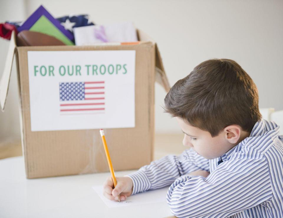 """<p>Set aside time during Independence Day weekend to create a care package to send to members of the military. <a href=""""https://store.usps.com/store/product/shipping-supplies/military-care-kit-P_MILITARYKIT"""" rel=""""nofollow noopener"""" target=""""_blank"""" data-ylk=""""slk:UPS offers free kits"""" class=""""link rapid-noclick-resp"""">UPS offers free kits</a> and you can see a list of things to include via organizations like <a href=""""https://soldiersangels.org/how-to-assemble-a-care-package/"""" rel=""""nofollow noopener"""" target=""""_blank"""" data-ylk=""""slk:Soldier's Angels"""" class=""""link rapid-noclick-resp"""">Soldier's Angels</a>. </p>"""