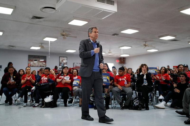U.S. Sen. Sherrod Brown, D-Ohio, speaks at a culinary union hall Saturday, Feb. 23, 2019, in Las Vegas. (Photo: John Locher/AP)