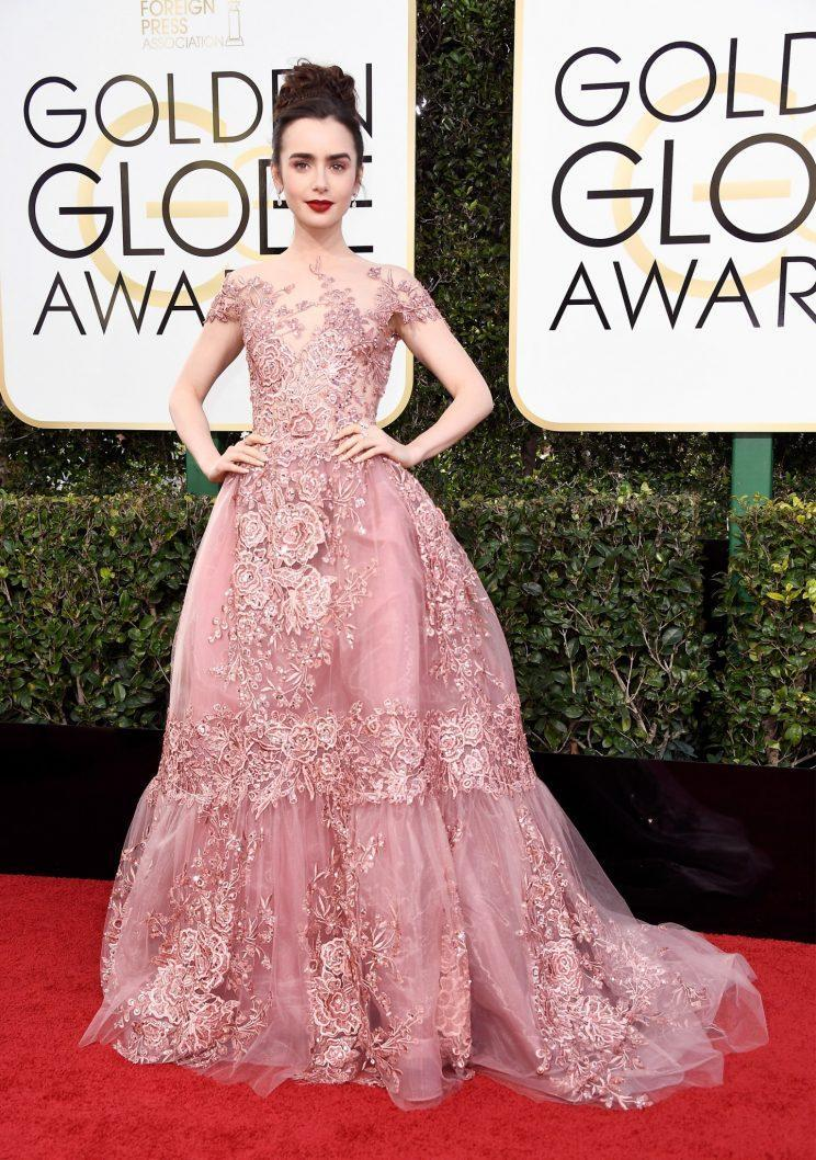 Lily Collins in Zuhair Murad. (Photo: Getty Images)
