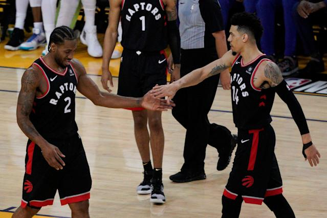 Kawhi Leonard and Danny Green were just two of the Raptors who came up big in Game 3. (AP)