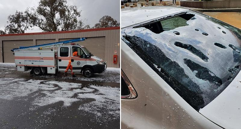 Hail damage is seen in Canberra with a car window smashed and an emergency vehicle surrounded by white, icy precipitation.