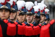 French military school Saint Cyr students attend ceremonies at the Arc de Triomphe to mark the 101st anniversary of the 1918 armistice, ending World War I, in Paris Monday Nov. 11, 2019 . (Ludovic Marin/Pool via AP)