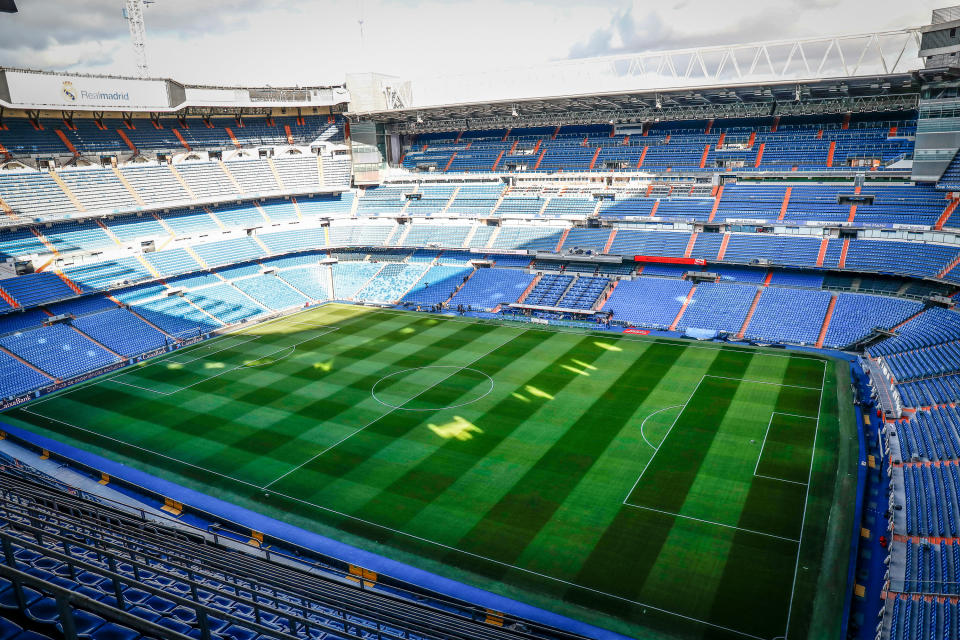 MADRID, SPAIN - MARCH 12: Illustration, general view of the empty Santiago Bernabeu stadium on March 12, 2020 in Madrid, Spain. (Photo by Oscar J. Barroso / AFP7 / Europa Press Sports via Getty Images)