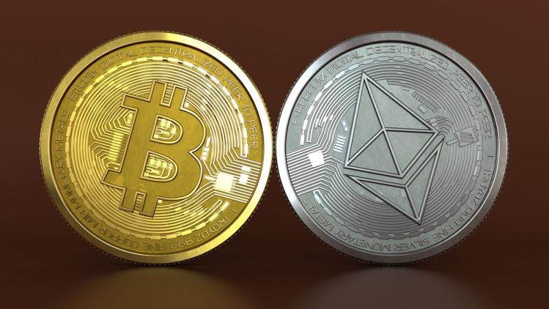 3d illustration of bitcoin and Ethereum coins