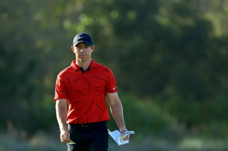 Northern Ireland's Rory McIlroy sports red and black in the final round of the WGC-Workday Championship in a show of support for injured superstar Tiger Woods