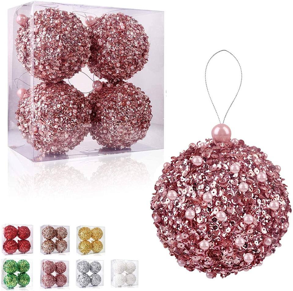 """<p>These <span>4.25"""" Christmas Ball Ornaments</span> ($17) are beyond glamorous with sequins and pearls. </p>"""