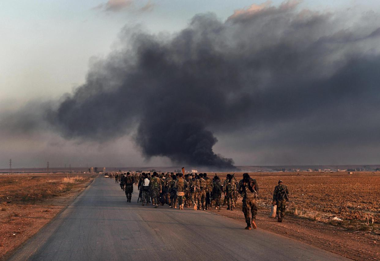 October 30, 2019, Tel Tamir, Syria: Syrian forces withdraw.  The front line moves to approximately 4 kilometers from Tel Tamir as fierce fighting wages with Turkish forces. Free Burma Rangers, an international humanitarian organization, rescues injured soldiers near the front line. (Photo: ©Carol Guzy/ZUMA Wire)