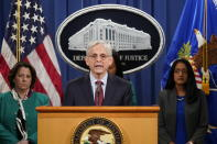 Attorney General Merrick Garland speaks during a news conference on voting rights at the Department of Justice in Washington, Friday, June 25, 2021. (AP Photo/Patrick Semansky)
