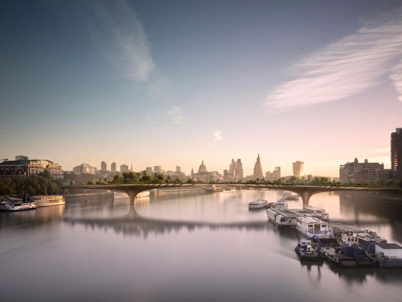 A mock-up of the proposed Thames Garden Bridge: Thomas Heatherwick